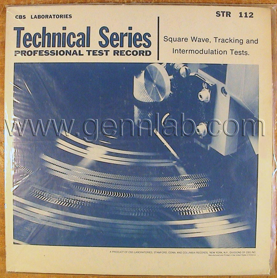 CBS LABORATORIES STR112 Square Wave Tracking and Intermodulation Tests cover. Front Side