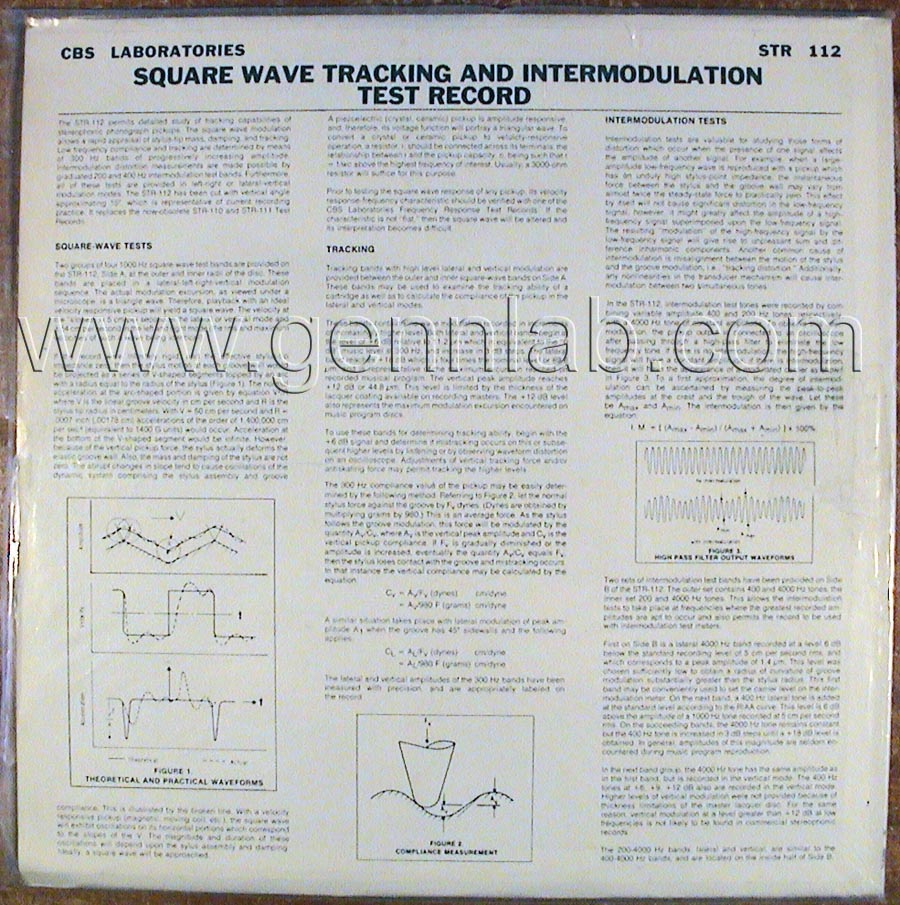CBS LABORATORIES STR112 Square WaveTracking and Intermodulation Tests cover. Rear Side