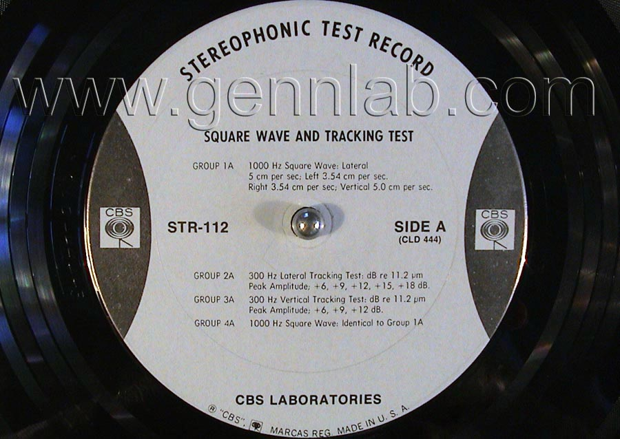 CBS LABORATORIES STR112 Square Wave Tracking and IntermodulationTests label. Side A
