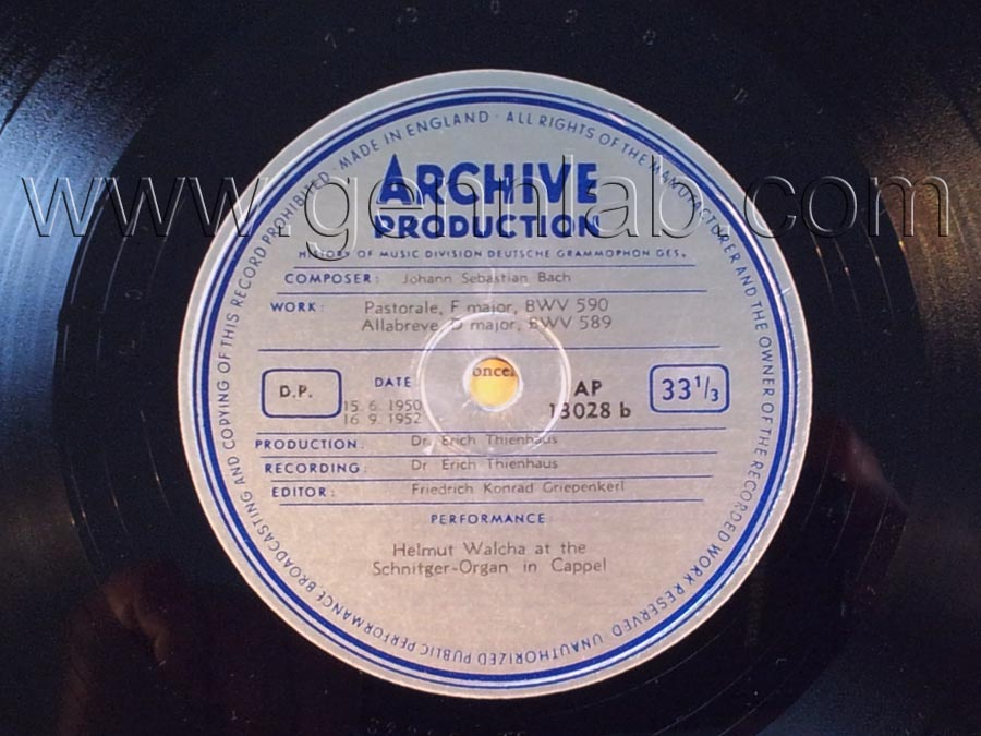 HELIODOR RECORD COMPANY. Side b, label