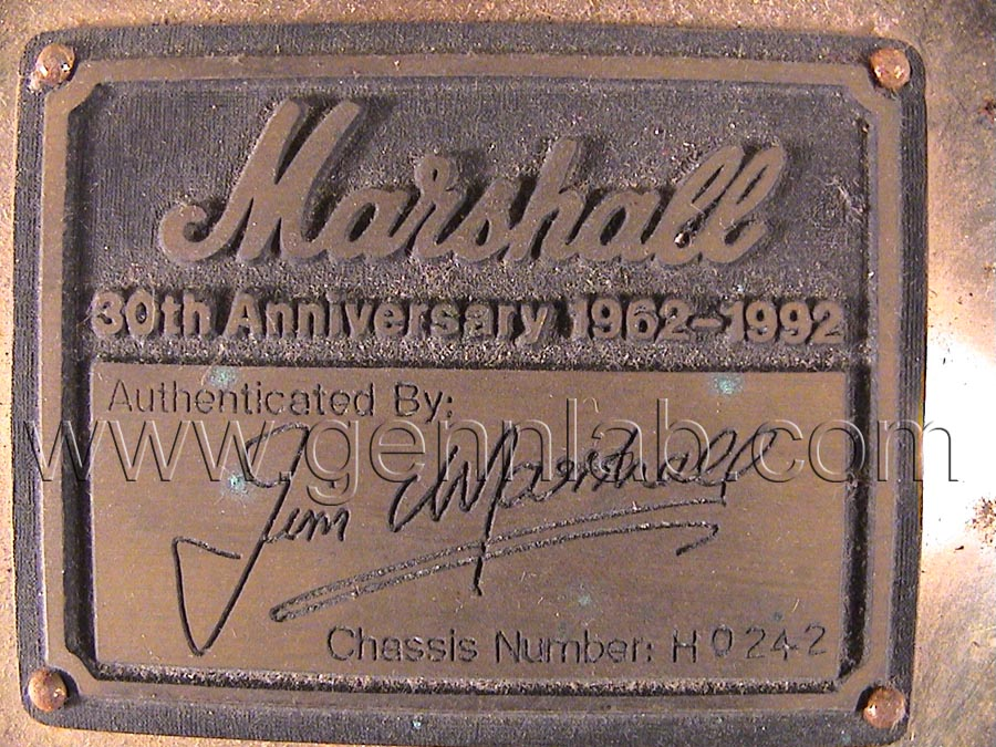 Mrshall 6100 30th Anniversary. Factory Label. Before cleaning.