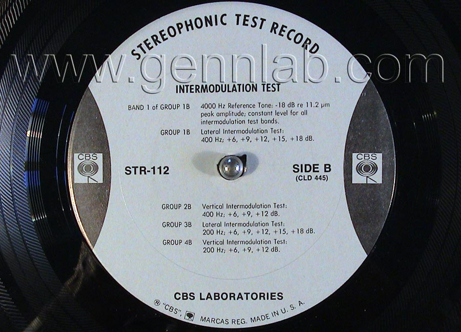 CBS LABORATORIES STR112 Square Wave Tracking and Intermodulation Tests label.Side B